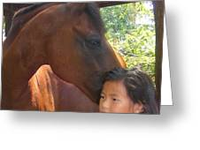 Horses And Children Greeting Card by Rene Trebing