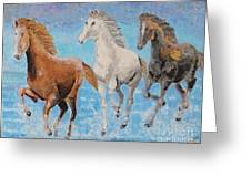 Horses From Troy Greeting Card by Vicky Tarcau