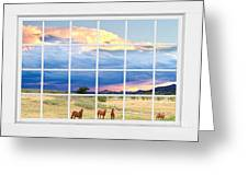 Horses On The Storm Large White Picture Window Frame View Greeting Card by James BO  Insogna