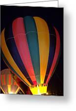 Hot Air Balloon Up Up Glow Greeting Card by Kathy Bassett