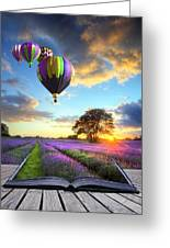 Hot Air Balloons And Lavender Book Greeting Card by Matthew Gibson