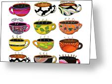 Hot Cuppa Whimsical Colorful Coffee Cup Designs By Romi Greeting Card by Megan Duncanson