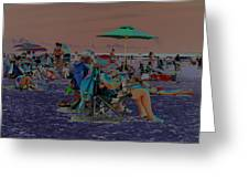 Hot Day At The Beach - Solarized Greeting Card by Suzanne Gaff