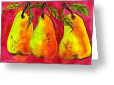 Hot Pink Three Pears Greeting Card by Blenda Studio