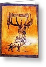 Hotel Elk - Wood Pyrography Greeting Card by Egri George-Christian