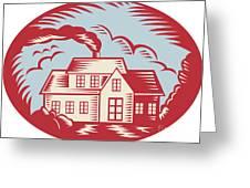 House Homestead Cottage Woodcut Greeting Card by Aloysius Patrimonio