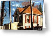 House On The Hill On Spring Street Greeting Card by Charlie Spear