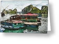 House On The Sea Greeting Card by Teara Na