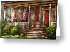 House - Porch - Belvidere Nj - A Classic American Home  Greeting Card by Mike Savad