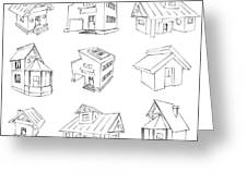 House Sketch Set Greeting Card by Ioan Panaite