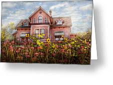 House - Victorian - Summer Cottage Greeting Card by Mike Savad