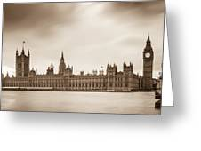 Houses Of Parliament And Elizabeth Tower In London Greeting Card by Semmick Photo