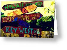 How Far Is It To Key West Greeting Card by Susanne Van Hulst