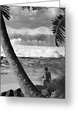 Huge Surf In Hawaii. Greeting Card by Sean Davey