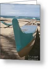 hui o waa Kuau Outrigger Canoe Paia Greeting Card by Sharon Mau