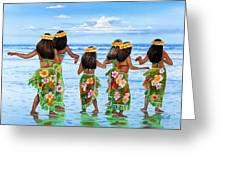 Hula Dancers Hawaii Greeting Card by John YATO