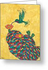 Hummingbird And Prickly Pear Greeting Card by Susie Weber