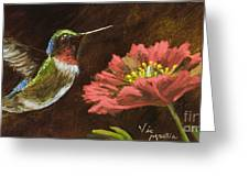 Hummingbird With Gold Leaf By Vic Mastis Greeting Card by Vic  Mastis