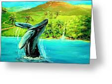 Humpback Whale Breaching At Haleakala Hawaii Greeting Card by Bernadette Krupa