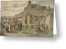 Hungarian Gypsies Outside Carcassonne Greeting Card by French School