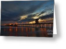 Huntington Beach At Night Greeting Card by Peter Dang