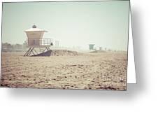 Huntington Beach Lifeguard Tower #1 Retro Photo Greeting Card by Paul Velgos