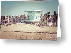 Huntington Beach Lifeguard Tower #5 Retro Picture Greeting Card by Paul Velgos