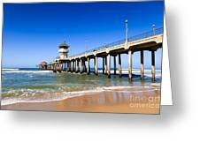 Huntington Beach Pier In Southern California Greeting Card by Paul Velgos