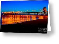 Huntington Beach Pier - Nightside Greeting Card by Jim Carrell