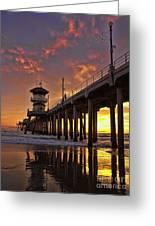 Huntington Beach Pier Greeting Card by Peggy J Hughes