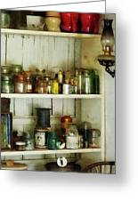 Hurricane Lamp In Pantry Greeting Card by Susan Savad