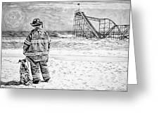 Hurricane Sandy Black And White Greeting Card by Jessica Cirz