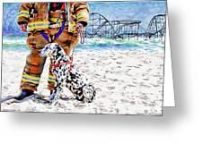 Hurricane Sandy Fireman And Dog Greeting Card by Jessica Cirz
