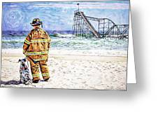 Hurricane Sandy Fireman Greeting Card by Jessica Cirz