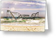 Hurricane Sandy Jetstar Roller Coaster Sun Glare Greeting Card by Jessica Cirz