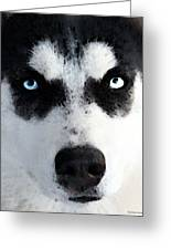 Husky Dog Art - Bat Man Greeting Card by Sharon Cummings