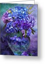 Hydrangeas In Hydrangea Vase Greeting Card by Carol Cavalaris