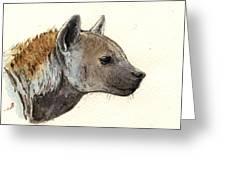 Hyena Head Study Greeting Card by Juan  Bosco