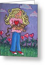 I Love My Cat Greeting Card by Cherie Sexsmith