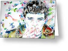 Ian Curtis Smoking Cigarette Watercolor Portrait Greeting Card by Fabrizio Cassetta
