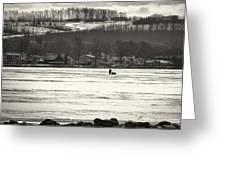 Ice Fisherman On Canandaigua Lake 2010 Greeting Card by Joseph Duba