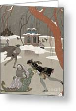 Ice Skating On The Frozen Lake Greeting Card by Georges Barbier