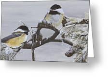 Ice Storm Chickadees Greeting Card by Johanna Lerwick