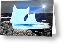 Icebergs At Sunset Greeting Card by Barbara Griffin