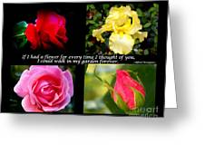 If I Had A Flower Collage Greeting Card by Kathy  White