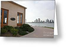 Il Fornaio Italian Restaurant In Coronado California Overlooking The San Diego Skyline 5d24364 Greeting Card by Wingsdomain Art and Photography