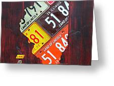 Illinois License Plate Map Greeting Card by Design Turnpike