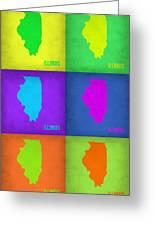 Illinois Pop Art Map 1 Greeting Card by Naxart Studio