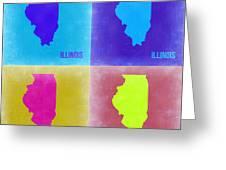 Illinois Pop Art Map 2 Greeting Card by Naxart Studio