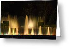 Illuminated Dancing Fountains Greeting Card by Sally Weigand